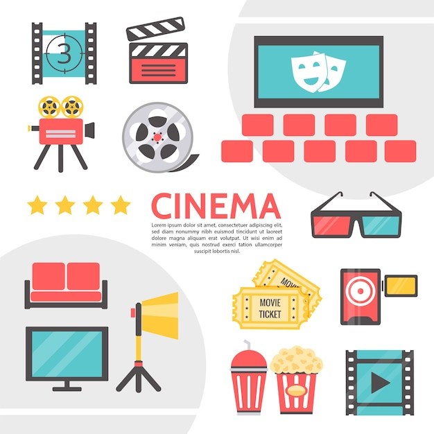 Płaska kolekcja ikon kinematografii z kliszą z taśmy filmowej z filmu w sali kinowej