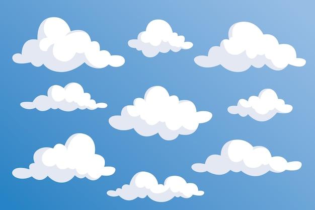 Płaska kolekcja ilustracji w chmurze