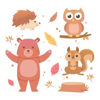 Płaska kolekcja jesień zwierząt leśnych