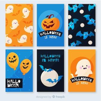 Płaska kolekcja kart halloween i tła