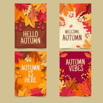 Płaska kolekcja kart jesiennych