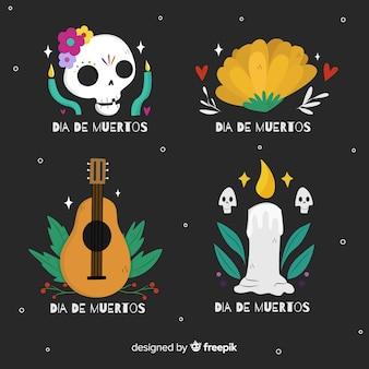 Płaska kolekcja kolekcji etykiet dia de muertos