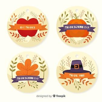 Płaska kolekcja kolekcji etykiet na święto dziękczynienia