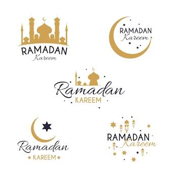 Płaska kolekcja kolekcji etykiet ramadan