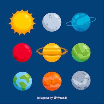 Płaska kolekcja kolorowych planet