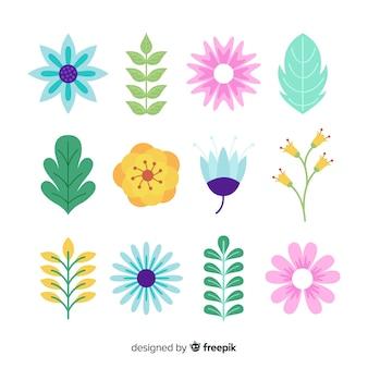 Płaska kolekcja kwiatów