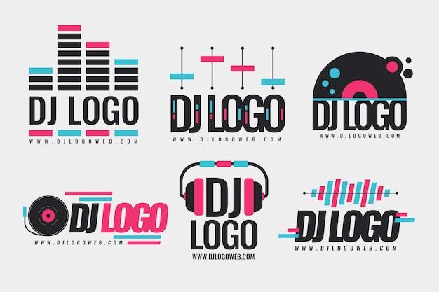 Płaska kolekcja logo dj
