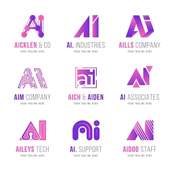 Płaska kolekcja logo sztucznej inteligencji