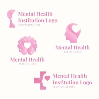 Płaska kolekcja logo zdrowia psychicznego