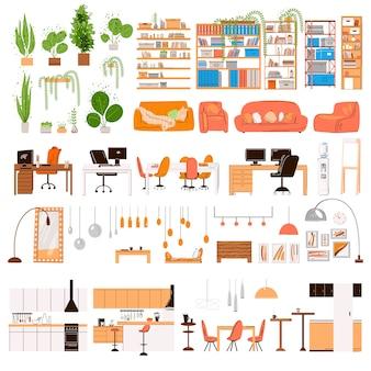 Płaska kolekcja mebli do projektowania wnętrz. modne designerskie meble - stół krzesło sofa lampa lustro rośliny, detale mebli strefy domowego biura, szafka, elementy kuchenne