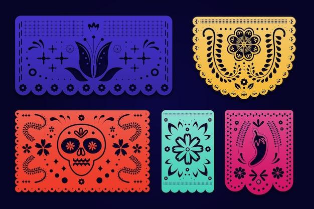 Płaska kolekcja meksykańskich dekoracji cinco de mayo
