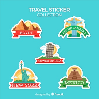 Płaska kolekcja naklejek podróżnych