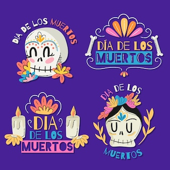 Płaska kolekcja odznak dia de muertos