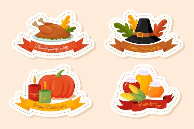Płaska kolekcja odznak dziękczynienia