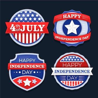 Płaska kolekcja odznak dzień niepodległości 4 lipca