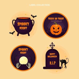 Płaska kolekcja odznak halloween