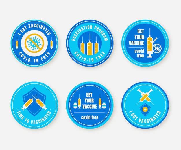 Płaska kolekcja odznak kampanii szczepień