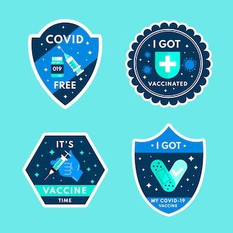 Płaska Kolekcja Odznak Kampanii Szczepień Darmowych Wektorów