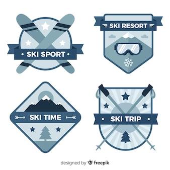 Płaska kolekcja odznak narciarskich i śniegowych