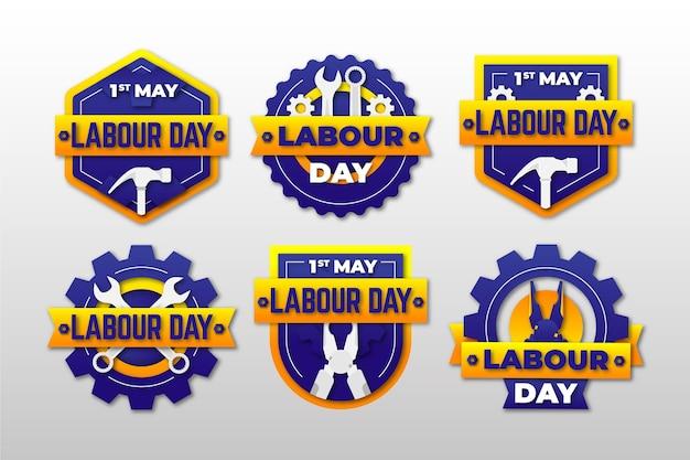 Płaska kolekcja odznak święta pracy