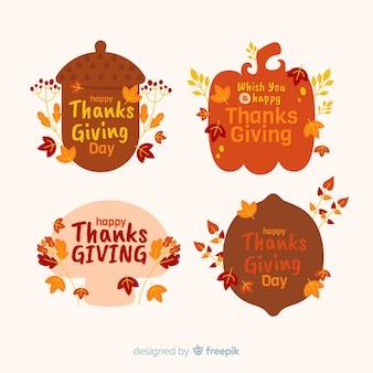 Płaska kolekcja odznaki dziękczynienia