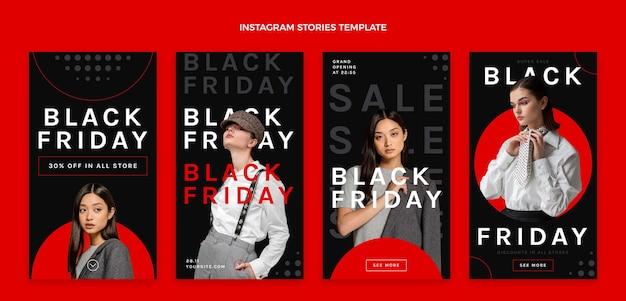 Płaska Kolekcja Opowiadań Na Instagramie W Czarny Piątek Premium Wektorów