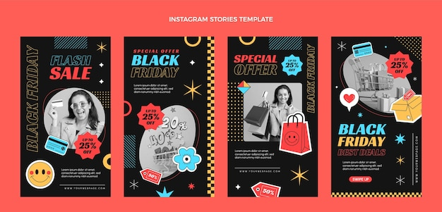 Płaska kolekcja opowiadań na instagramie w czarny piątek