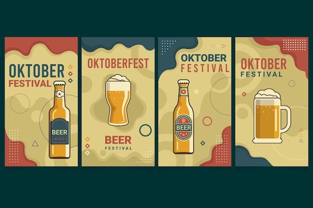 Płaska kolekcja opowiadań na instagramie z oktoberfest