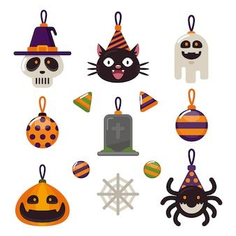 Płaska kolekcja ozdób halloween
