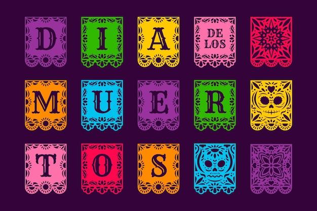 Płaska kolekcja papierów dia de muertos picado