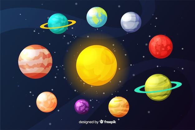 Płaska kolekcja planet wokół słońca