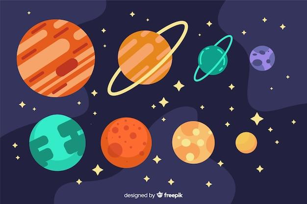 Płaska kolekcja planet