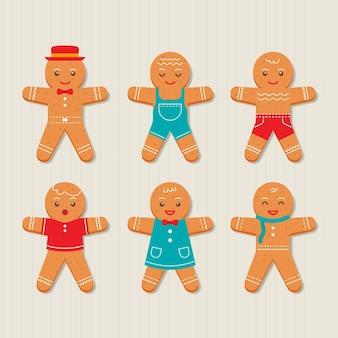 Płaska kolekcja plików cookie piernika