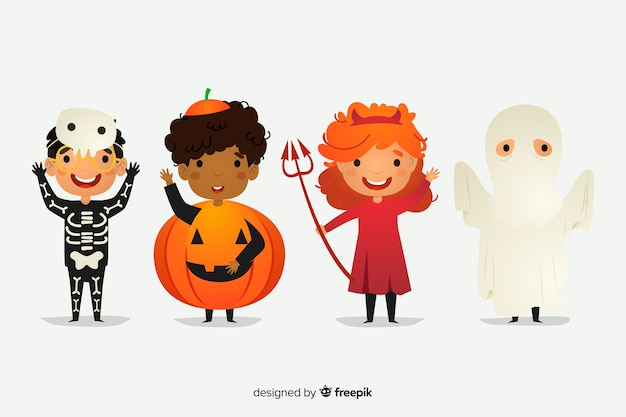 Płaska kolekcja postaci na halloween