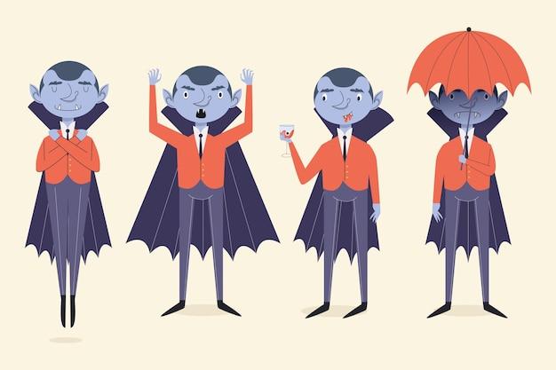 Płaska kolekcja postaci wampirów