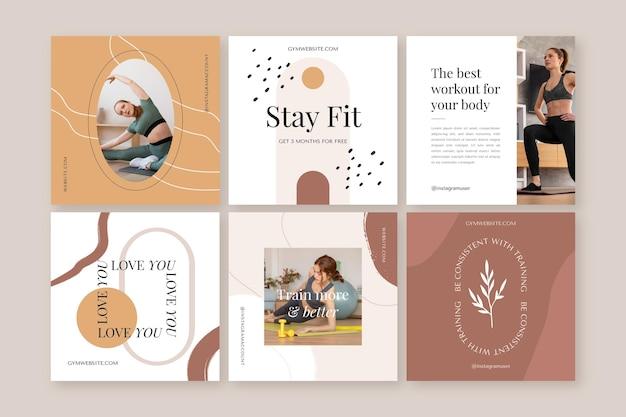 Płaska kolekcja postów dotyczących zdrowia i fitness