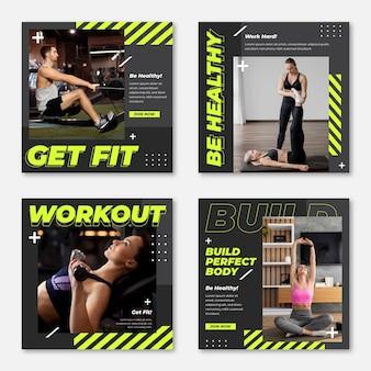 Płaska kolekcja postów dotyczących zdrowia i fitnessu ze zdjęciem