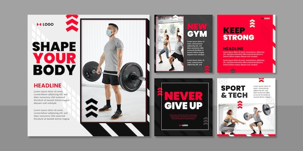 Płaska kolekcja postów fitness ze zdjęciem