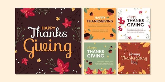 Płaska kolekcja postów na instagramie dziękczynienia