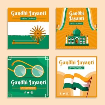Płaska kolekcja postów na instagramie gandhi jayanti