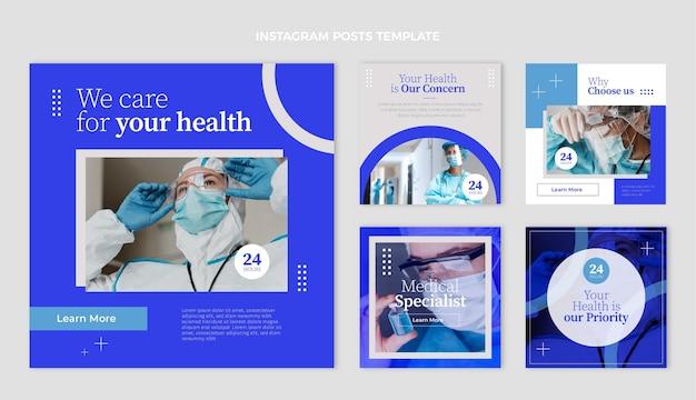 Płaska kolekcja postów na instagramie medycznym