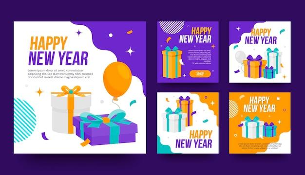 Płaska kolekcja postów na instagramie na nowy rok