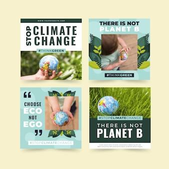 Płaska kolekcja postów na instagramie o zmianie klimatu