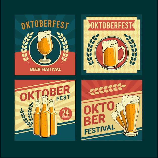 Płaska kolekcja postów na instagramie oktoberfest