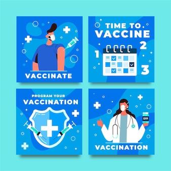 Płaska kolekcja postów na instagramie szczepień