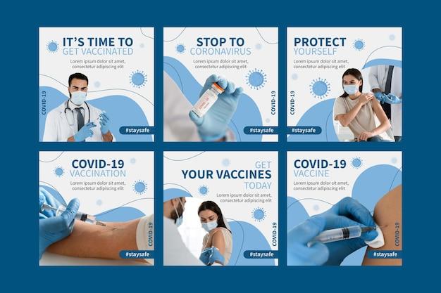 Płaska kolekcja postów na instagramie szczepionek ze zdjęciami
