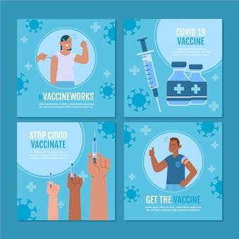 Płaska kolekcja postów na instagramie szczepionek