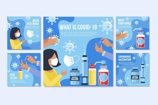 Płaska kolekcja postów na instagramie szczepionki covid19