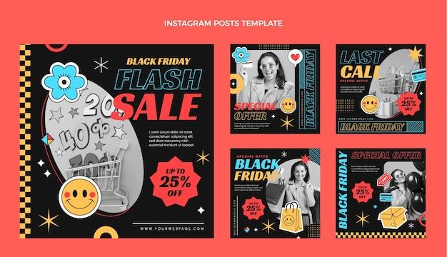 Płaska kolekcja postów na instagramie w czarny piątek