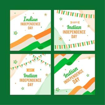 Płaska kolekcja postów na instagramie z okazji dnia niepodległości indii